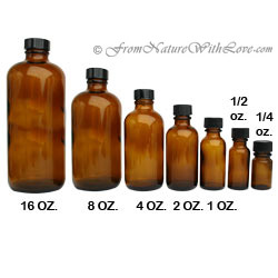 1/2 oz. Amber Boston Round Bottle with Cap