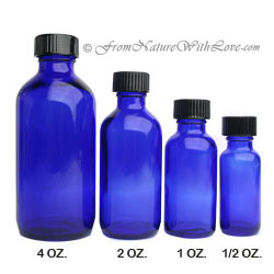 1/2 oz. Cobalt Boston Round Bottle with Cap
