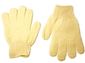 Cream Nylon Bath Gloves