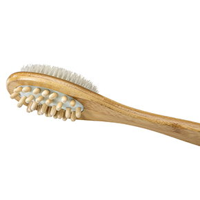 Bamboo Massager and Bristle Brush