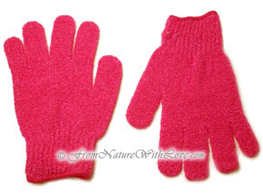 Magenta Nylon Bath Gloves (pair)