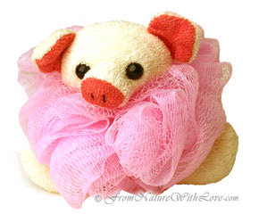 Pink Pig Bath Pouf for Children